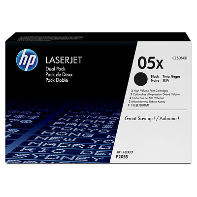 HP 05X 2-pack High Yield Black Original LaserJet Toner Cartridges CE505XD