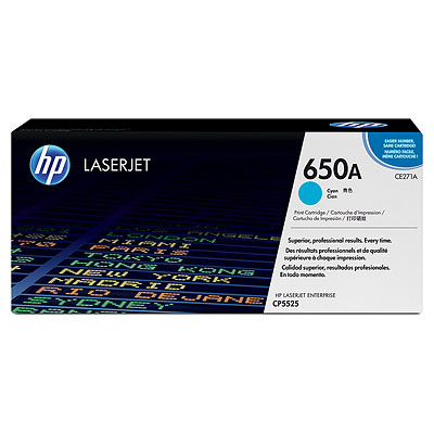 HP 650A Cyan Original LaserJet Toner Cartridge CE271A