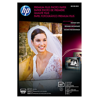 HP Premium Plus Glossy Photo Paper-60 sheet/4 x 6 in