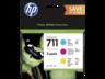 HP 711 ciánkék bíbor sárga tintapatron eredeti kombinált csomag P2V32A DesignJet T120 T125 T130 T520 T525 T530 29 ml